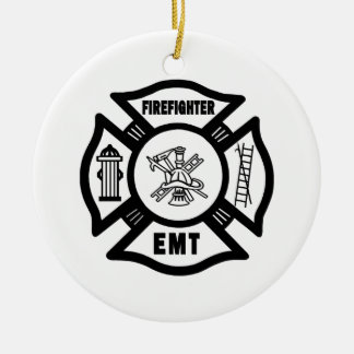 Firefighter EMT Double-Sided Ceramic Round Christmas Ornament
