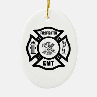 Firefighter EMT Double-Sided Oval Ceramic Christmas Ornament