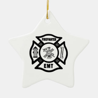 Firefighter EMT Double-Sided Star Ceramic Christmas Ornament