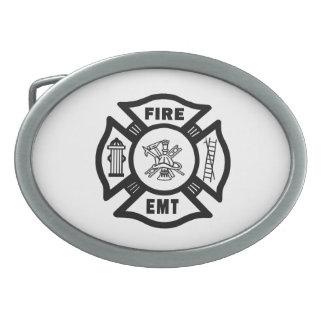 Firefighter EMT Oval Belt Buckle