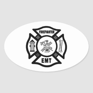 Firefighter EMT Oval Stickers