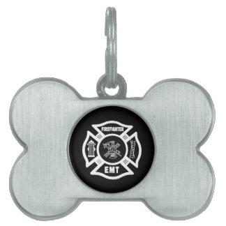 Firefighter EMT Pet Name Tags