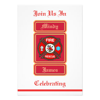 Firefighter EMT Rescue Wedding Invitation