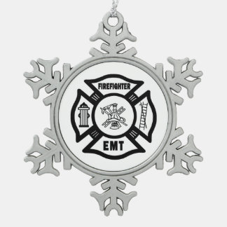 Firefighter EMT Snowflake Pewter Christmas Ornament
