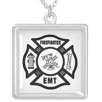 Firefighter EMT Square Pendant Necklace