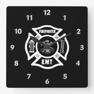Firefighter EMT Square Wall Clock
