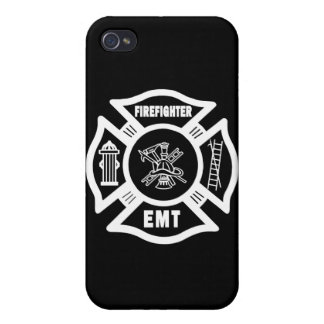 Firefighter EMT White iPhone 4 Cases