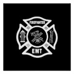 Firefighter EMT White Posters