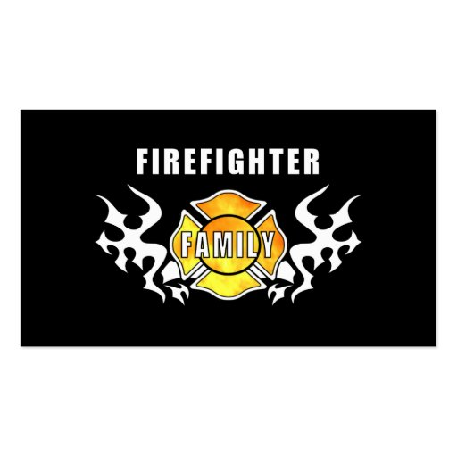 Firefighter family double sided standard business cards for Family business cards