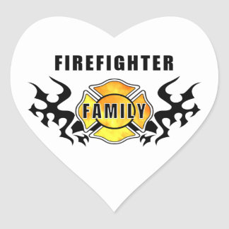 Firefighter Family Heart Stickers