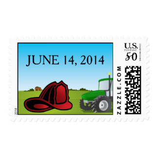 Firefighter farm wedding postage