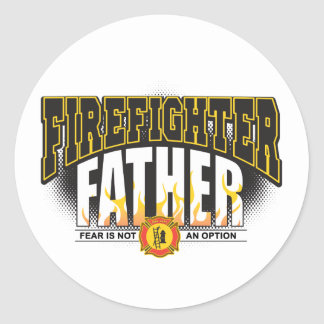 Firefighter Father Classic Round Sticker