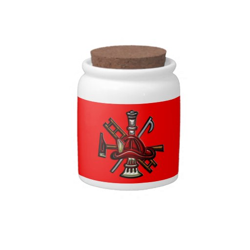 Firefighter Fire and Rescue Department Emblem Candy Jars