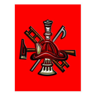 Firefighter Fire and Rescue Department Emblem Post Card