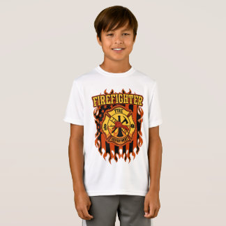Firefighter Fire Department Badge and Flag T-Shirt