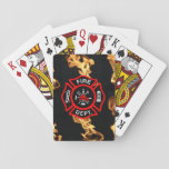 """Firefighter   Fire Department Flames Red Shield Playing Cards<br><div class=""""desc"""">Fireman playing cards with fire and Maltese Cross in red, black, and white. Classic design with hydrant, ladder, helmet, axe and other firefighting tools. Against a photographic black background of fire flames. Ready to customize however you like- add monogram initials, personalized name, date, any custom text. Nice gift for firemen...</div>"""