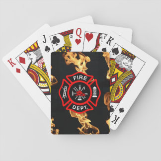 Firefighter Fire Department Flames Red Shield Playing Cards