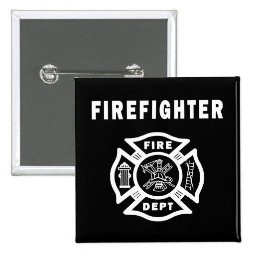 Firefighter Fire Dept 2 Inch Square Button