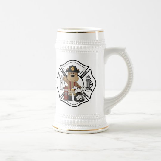 Firefighter Fire Dept Bear Beer Stein