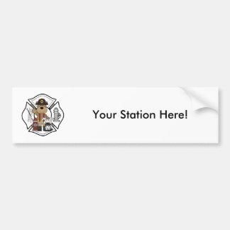 Firefighter Fire Dept Bear Bumper Sticker
