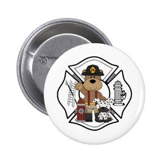 Firefighter Fire Dept Bear Pinback Button