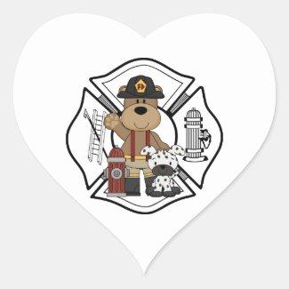 Firefighter Fire Dept Bear Heart Stickers