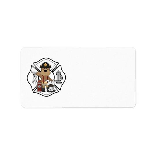 Firefighter Fire Dept Bear Label