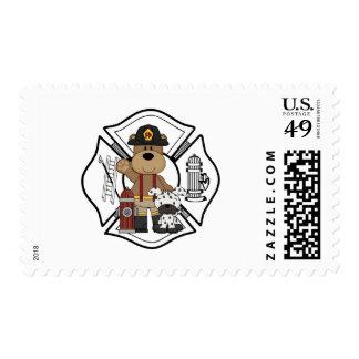 Firefighter Fire Dept Bear Postage Stamps