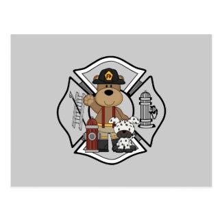 Firefighter Fire Dept Bear Postcard