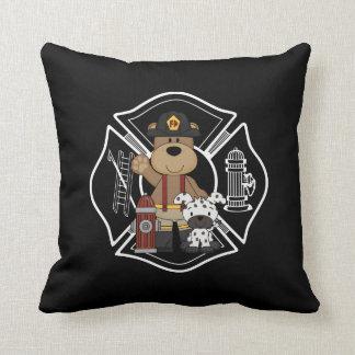 Firefighter Fire Dept Bear Throw Pillow