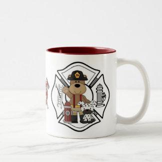 Firefighter Fire Dept Bear Two-Tone Coffee Mug