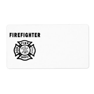 Firefighter Fire Dept Logo Label