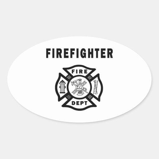 Firefighter Fire Dept Oval Sticker
