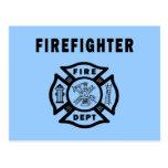 Firefighter Fire Dept Post Card