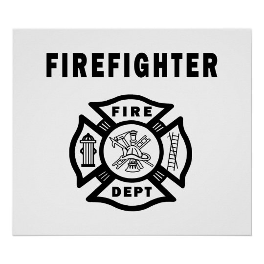 Firefighter Fire Dept Poster