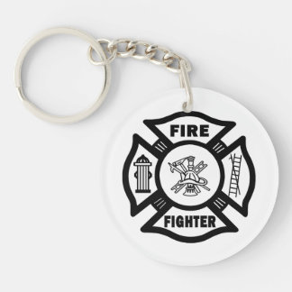 Firefighter Fire Dept Single-Sided Round Acrylic Keychain