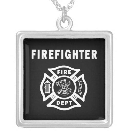 Firefighter Fire Dept Square Pendant Necklace