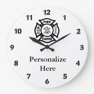 Firefighter Fire Symbol Personalized Clocks
