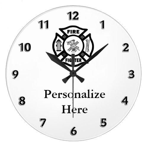 Firefighter Fire Dept Symbol Large Clock
