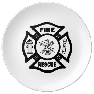 Firefighter Fire Rescue Porcelain Plate
