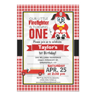 Firefighter, Fire Truck Birthday Party Cards