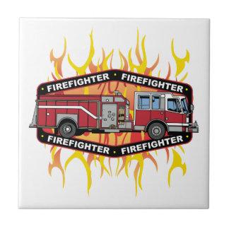 Firefighter Fire Truck Ceramic Tile
