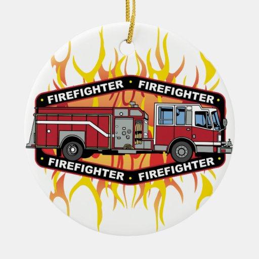 Firefighter Fire Truck Christmas Ornament