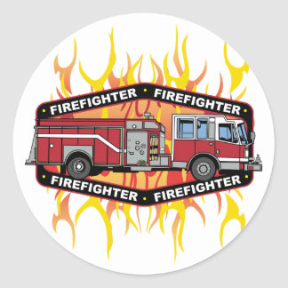 Firefighter Fire Truck Classic Round Sticker
