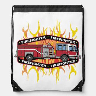 Firefighter Fire Truck Drawstring Bag