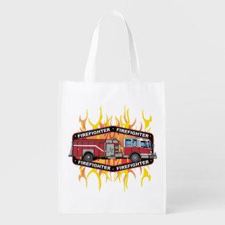 Firefighter Fire Truck Grocery Bag