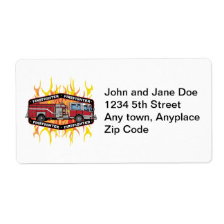 Firefighter Fire Truck Label