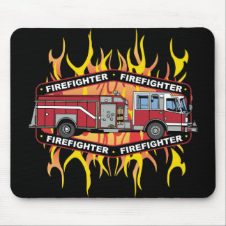 Firefighter Fire Truck Mouse Pad