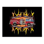 Firefighter Fire Truck Postcard