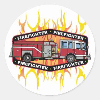 Firefighter Fire Truck Round Stickers